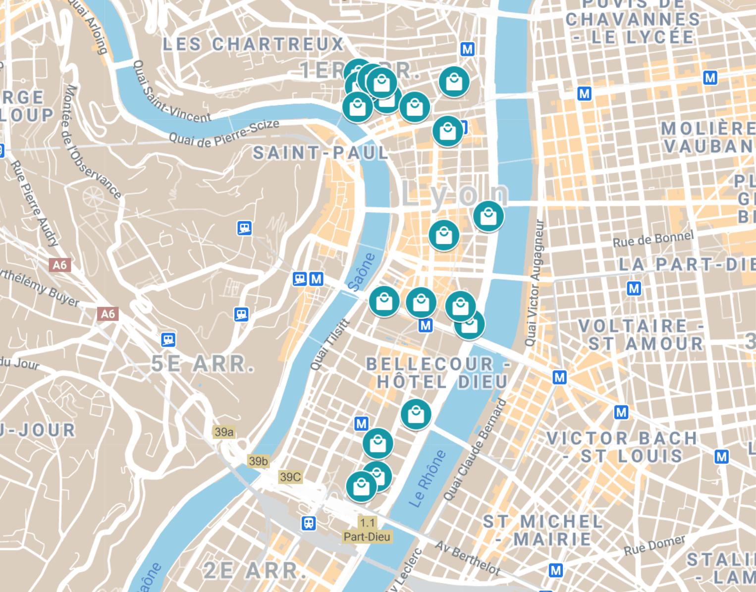 carte des restaurants ouverts à Lyon